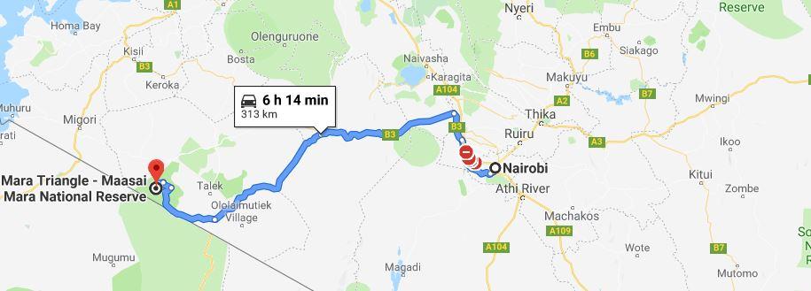 Distance from Nairobi to Masai Mara